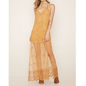 Floral lace maxi dress (Mustard)